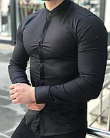 Рубашка мужская черная стильная приталенная Slim Fit