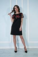 Платье свободное с вышитой сеткой черное.