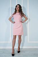 Платье свободное с вышитой сеткой персиковое.