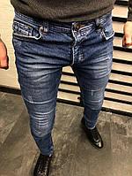 мужские прямые джинсы синие с потертостями, фото 1