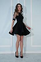 Платье с пышной юбкой и рукавами из сеточки в точку черное.