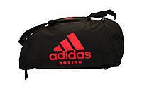 Сумка-рюкзак (2 в 1) ADIACC052B. Цвет черный, красный логотип, фото 1