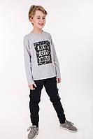 Трикотажный детский костюм для мальчика в спортивном стиле светло-серый