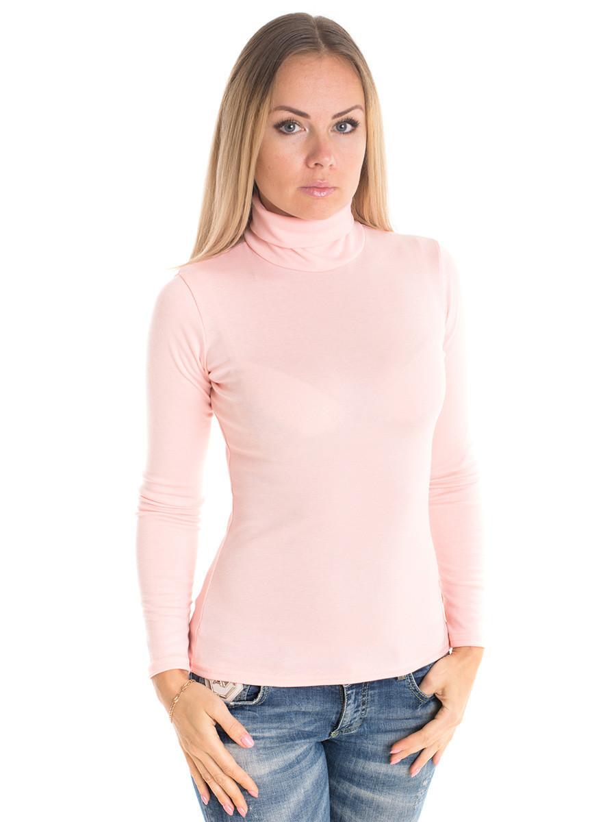 Женская водолазка (гольф) из полушерсти, розовый, размеры 44 - 54