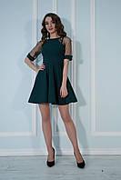 bfb6c270536 Платье с пышной юбкой и рукавами из сеточки в точку бутылочное.