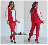 Батальный деловой брючный женский костюм тройка. 3 цвета!, фото 1