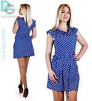 Короткое платье рубашка с затягивающимся поясом в горох(3 цвета)