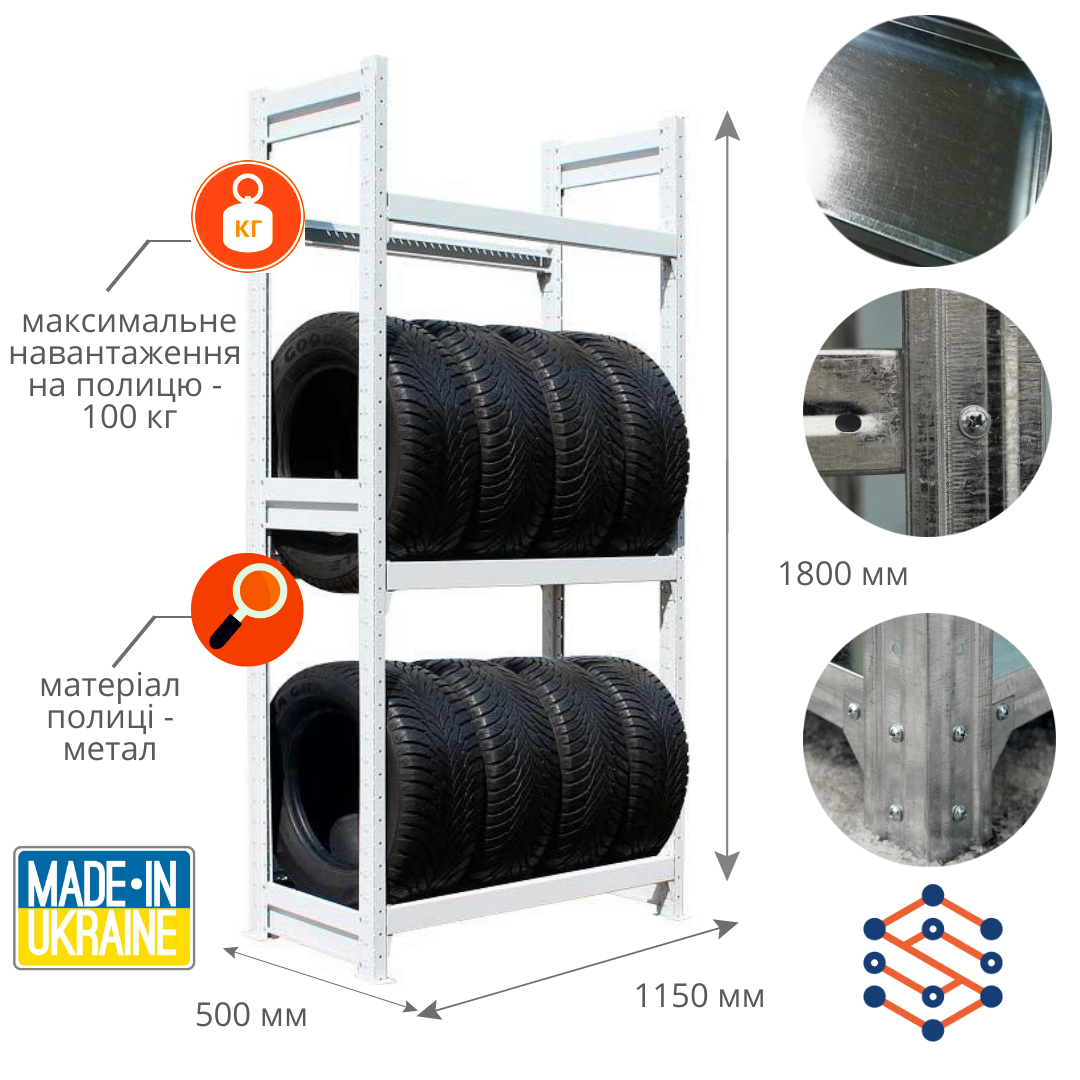 Стеллажи металлические оцинкованные для шин 1800х1150х500 мм