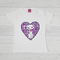 """Детская футболка для девочек """"Кошка"""" 3,4,5,6,7 лет молочная"""
