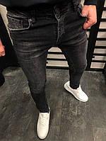 мужские джинсы черные с потертостями темно серые, фото 1
