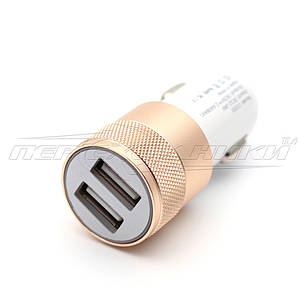 Автомобильное зарядное устройство USB 2.4A (2USB), gold, фото 2