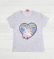"""Детская футболка для девочек """"Единорожек"""" 3,4,5,6,7 лет светло серый"""