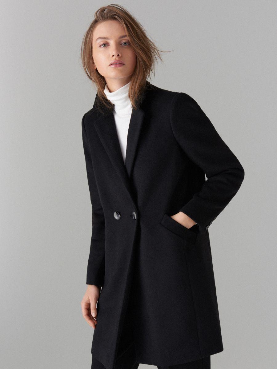 5f866d74fbd Пальто черного цвета с шерстью TM Mohito - Интернет-магазин