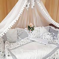 """Бортики, балдахин, постельное, одеяло,  подушка """" Звездная россыпь"""", фото 1"""