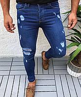 Джинсы мужские синие узкие рваные стильные