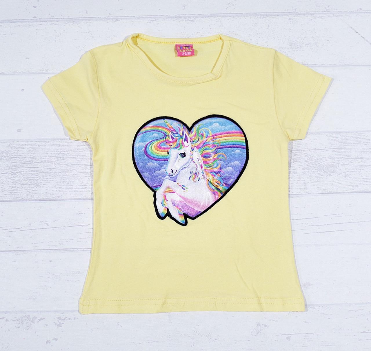 """Детская футболка для девочек """"Единорожек"""" 3,4,5,6,7 лет желтый"""