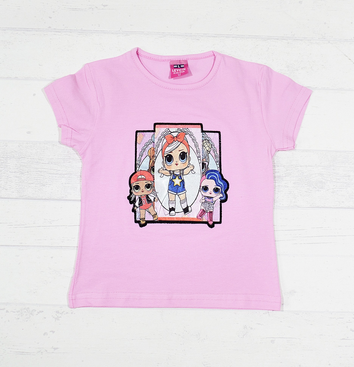 Детская футболка для девочек с куколками Лол 3,4,5,6,7 лет розовый