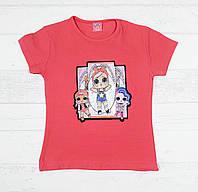 Детская футболка для девочек с куколками Лол 3,4,5,6,7 лет коралловый