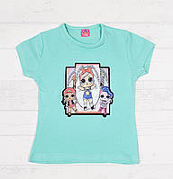 Детская футболка на девочку 3,4,5,6,7 лет (звёздочка мигает разноцветными огоньками)