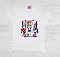Детская футболка для девочкек с куколками Лол 3,4,5,6,7 лет молочная
