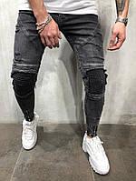 Мужские джинсы темные со швами на коленях, фото 1