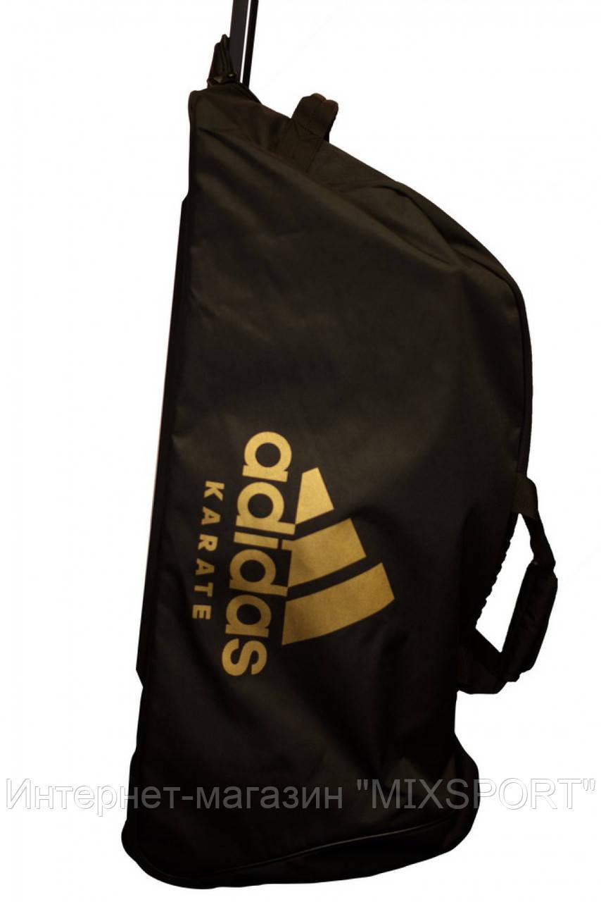 Сумка на колесах. Цвет черный, золотой логотип adidas карате. CC057K