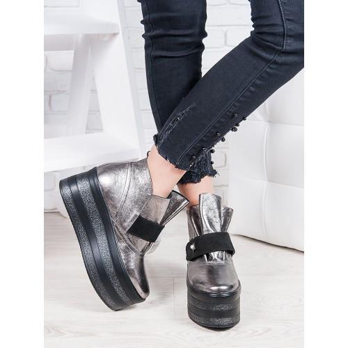 f17ce2acd Ботинки женские кожаные серебристые на высокой платформе демисезонные