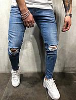 мужские стильные рваные джинсы светло синие, фото 1