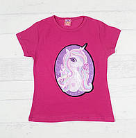 """Детская футболка для девочек """"Пони"""" 3,4,5,6,7 лет малиновый"""
