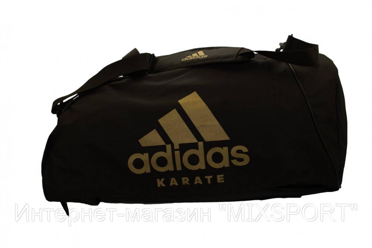 Сумка adidas CC055K. Цвет черный, золотой логотип карате.