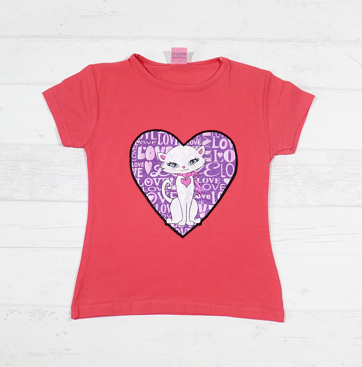 """Детская футболка для девочек """"Кошка"""" 3,4,5,6,7 лет коралловый"""