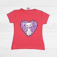 Детская футболка на девочку 3,4,5,6,7 лет ( кошка мигает разноцветными огоньками)
