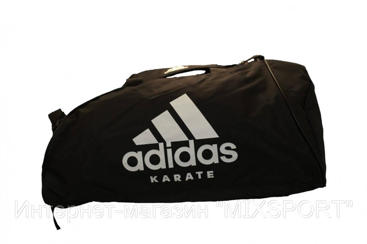 Сумка adidas CC055K. Цвет черный, белый логотип карате.