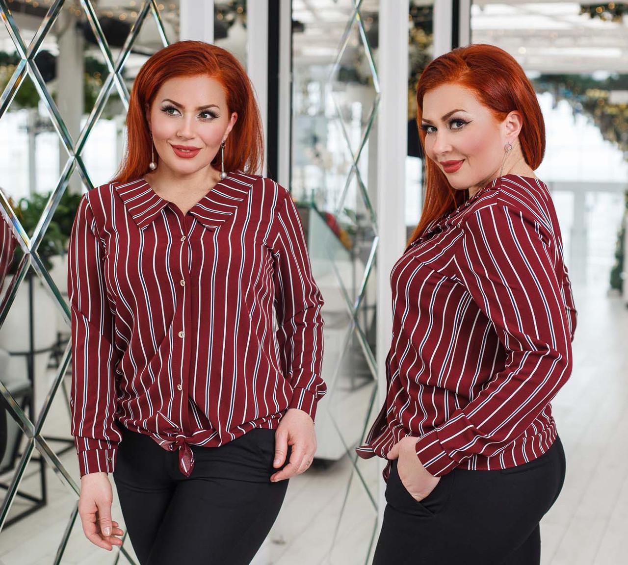 """Стильная женская рубашка в больших размерах 0364 """"Тифани Полоска Завязки"""" в расцветках"""