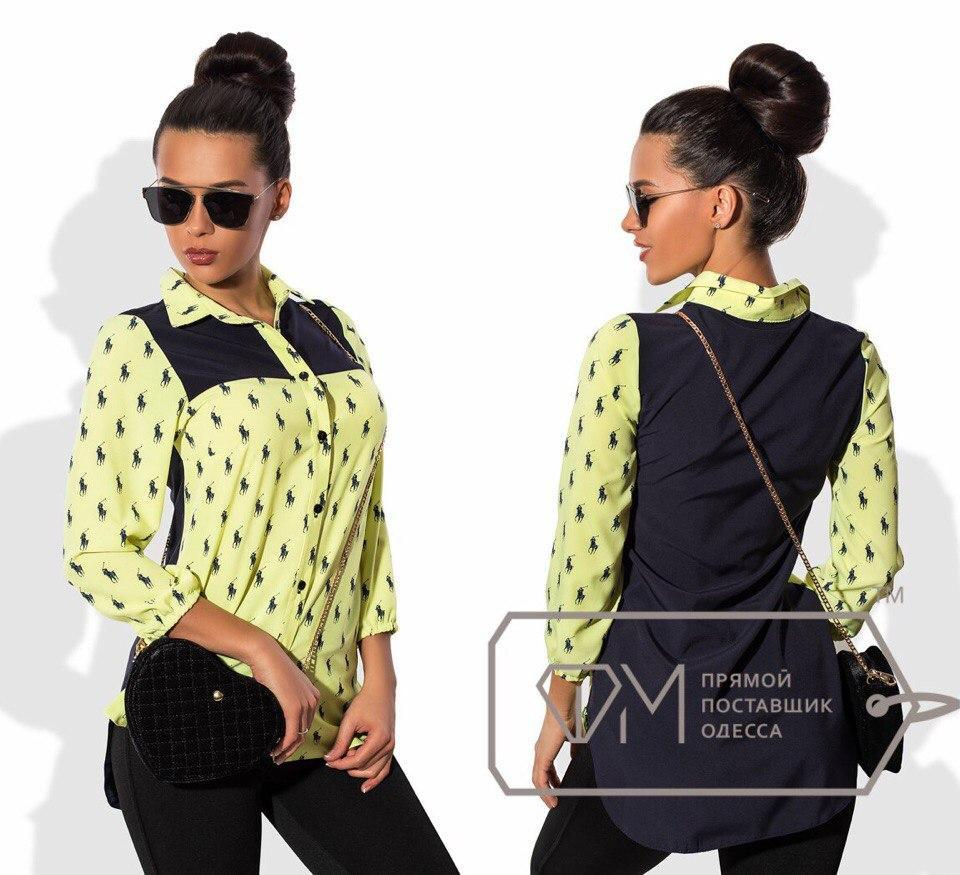 Рубашка женская POLO принт, двухцветная. Размеры:42,44,46,  ткань: вискоза рубашечная