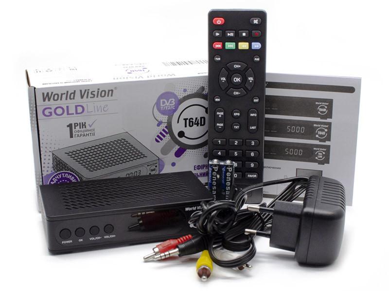 T2 тюнер ресивер World Vision T64D с экраном. Стандарты DVB-T/T2/C