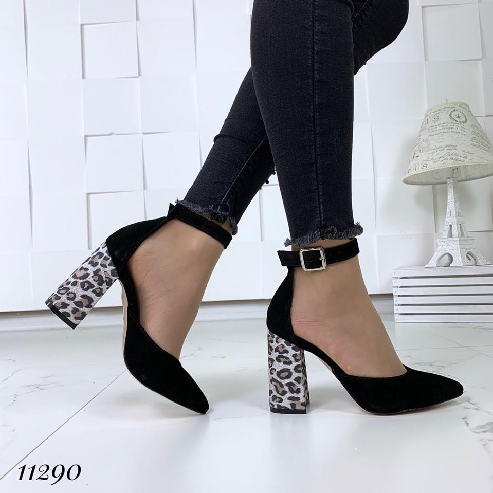 853ead4f0 Туфли замшевые черные леопардовый каблук и ремешком на щиколотке -  Интернет-магазин Лорея в Киеве