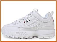 Женские кроссовки Fila Disruptor 2 White (фила дисраптор 2, белые)