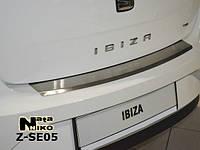 Накладка на бампер с загибом для Seat Ibiza IV 5-дверка с 2009 г.