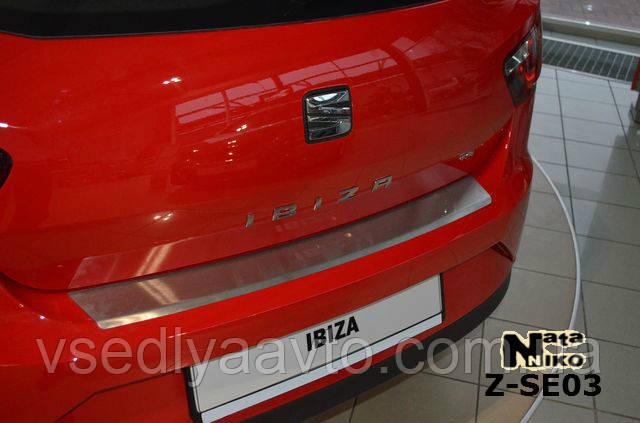 Накладка на бампер с загибом для Seat Ibiza IV 3-дверка FL с 2012 г.