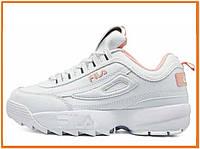 Женские кроссовки Fila Disruptor 2 White Pink (фила дисраптор 2, белые / розовые)