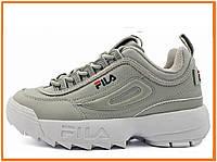 Женские кроссовки Fila Disruptor 2 Grey White (фила дисраптор 2, серые / белые)
