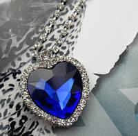 Сердце цепочка кулон Титаник большой с кристалами, фото 1