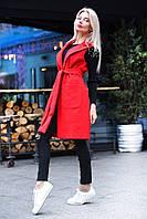 Ярко-красная стильная жилетка-пальто удлиненная из кашемира под пояс. Арт-7761/93, фото 1