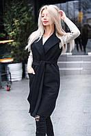 Черная стильная жилетка-пальто удлиненная из кашемира под пояс. Арт-7761/93, фото 1