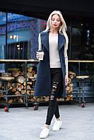 Синяя стильная жилетка-пальто удлиненная из кашемира под пояс. Арт-7761/93, фото 1