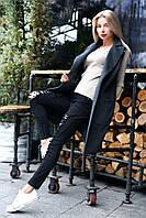 Стильная жилетка-пальто удлиненная из кашемира под пояс цвета графит. Арт-7761/93, фото 1
