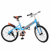 Детский двухколесный велосипед PROFI 20 дюймов голубой с оранжевым, Original W20115-2