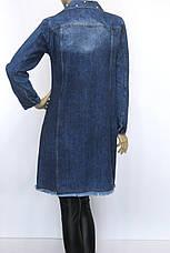 Жіночий  джинсовий плащ з рваними встаками і перлинками, фото 2