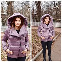 Женская демисезонная куртка оверсайз арт. M523 дымчатый розово-бежевый